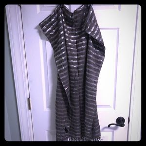 H &M shiny silver and gray lightweight scarf wrap